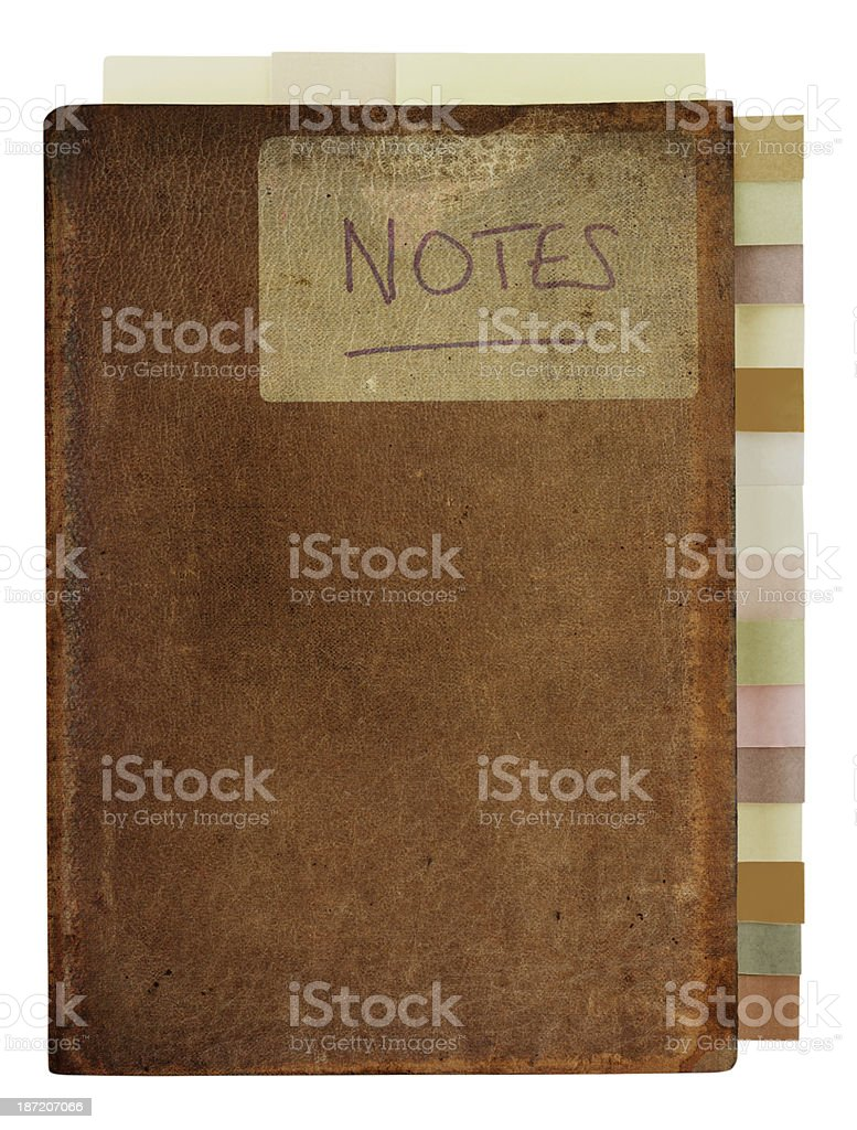 Grungy Old Notebook with Tabs stock photo