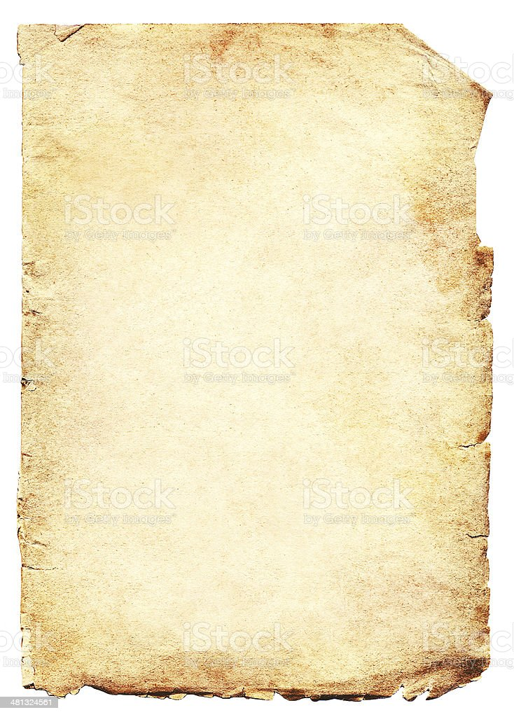 Grungy old paper isolated on white background stock photo