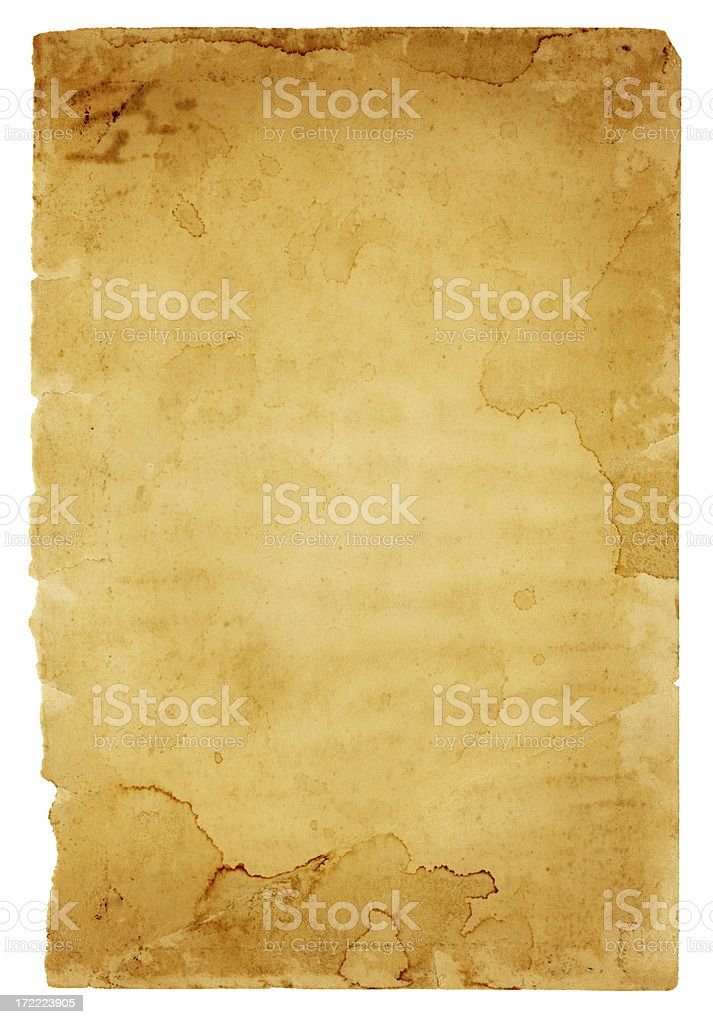 Grungy Old Paper with Frayed Edges (includes Clipping Path) royalty-free stock photo