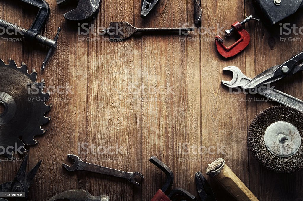 grungy old tools stock photo