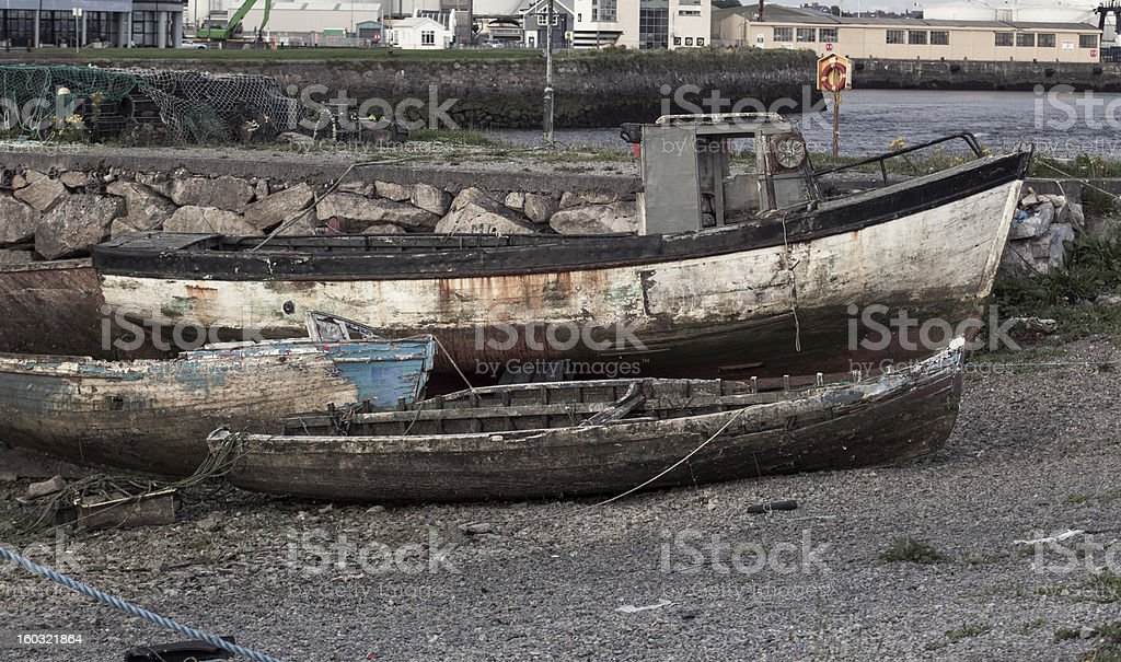 Grungy old wooden boats royalty-free stock photo