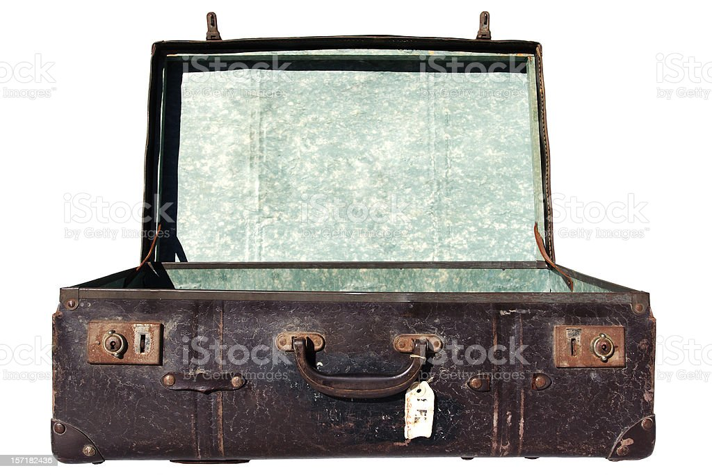 grungy open suitcase, isolated royalty-free stock photo