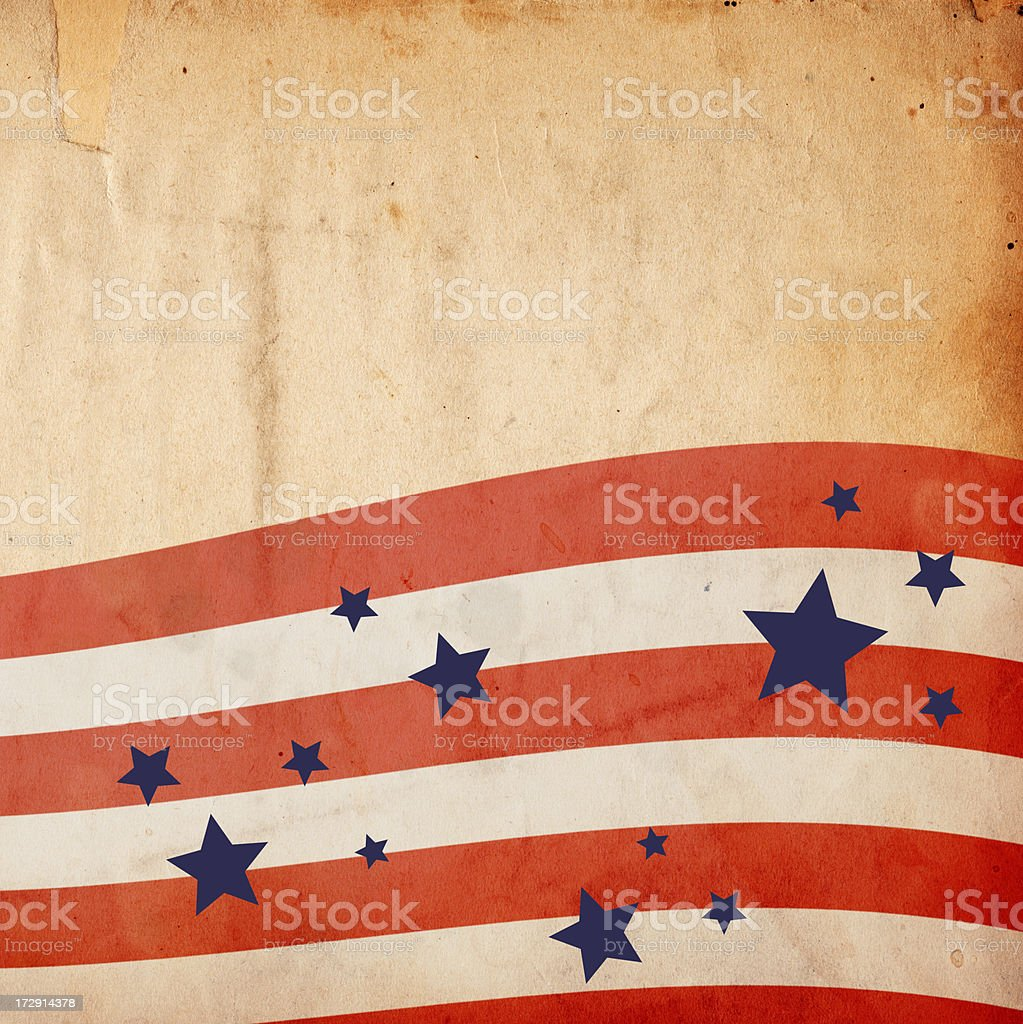 Grungy Patriotic Stars and Stripes Background: XXXL Paper royalty-free stock photo