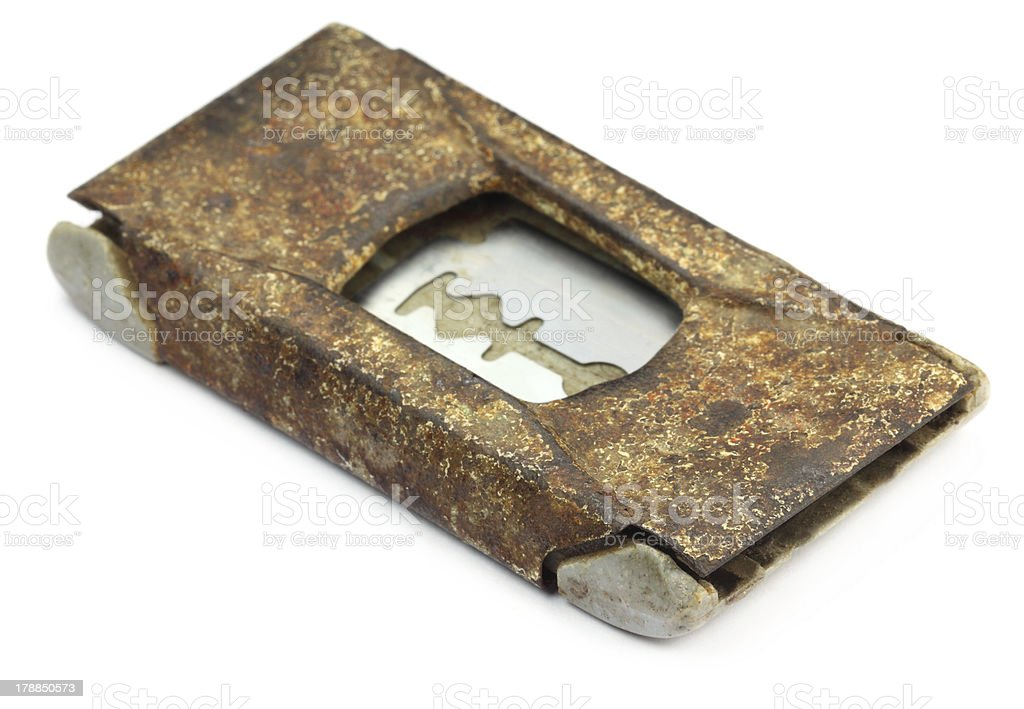 Grungy razor blade case royalty-free stock photo