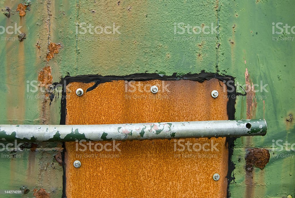 Grungy, rusty door on container royalty-free stock photo
