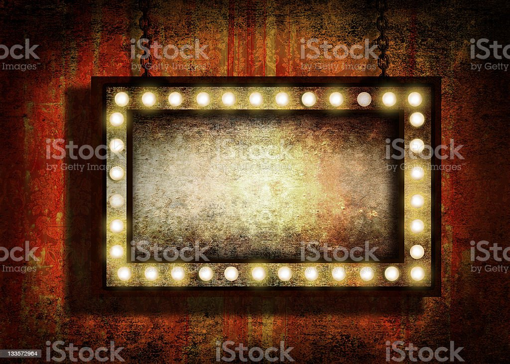 Grungy sign with lights stock photo