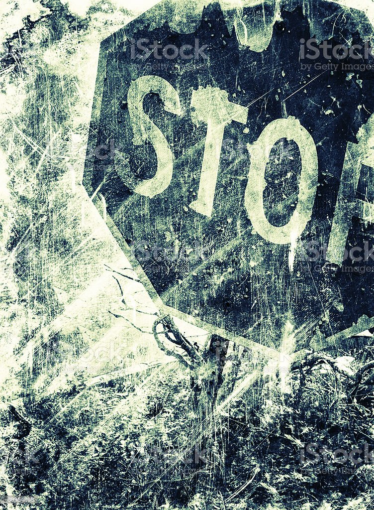 grungy stop sign stock photo