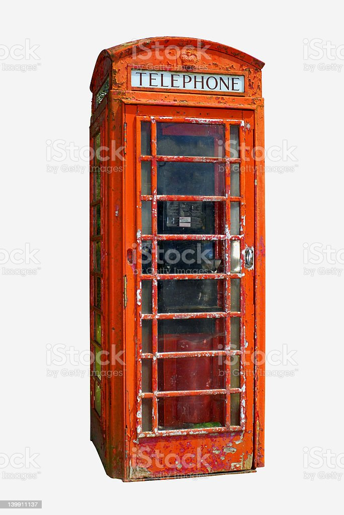 Grungy telephone box (Clipping path included) royalty-free stock photo