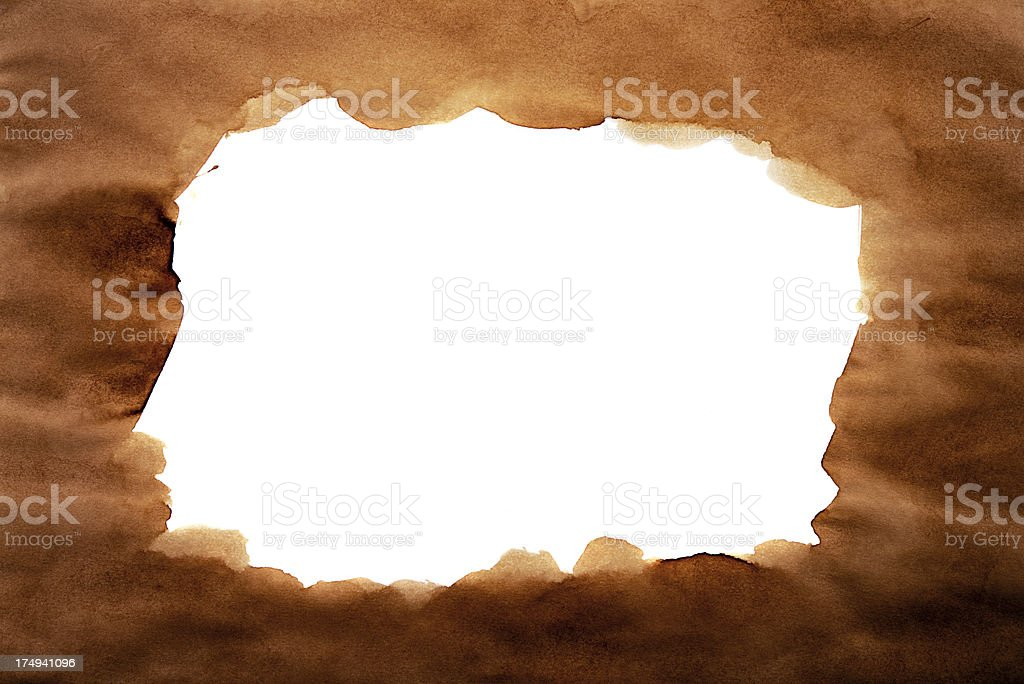 Grungy texture paper with coffee stains as a frame royalty-free stock photo