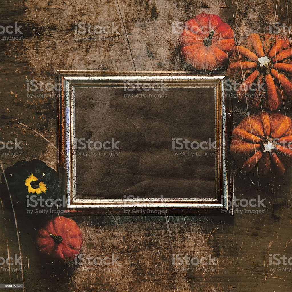 Grungy textured halloween frame with five pumpkins royalty-free stock photo