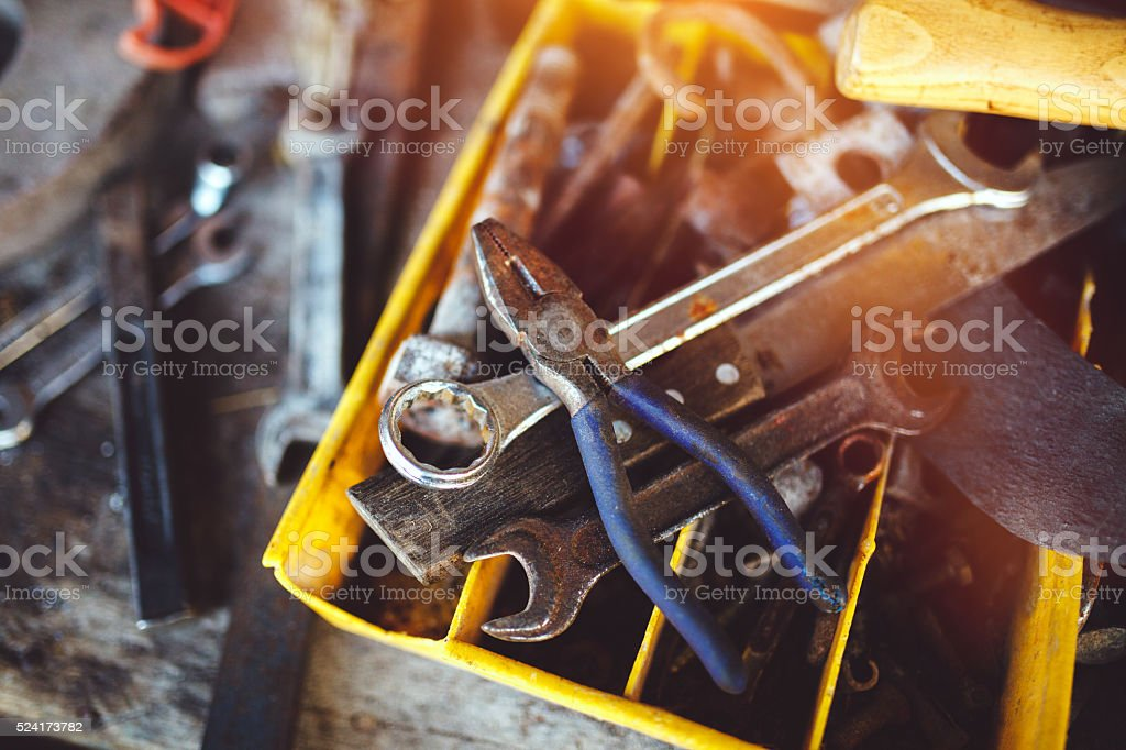 Grungy tools stock photo