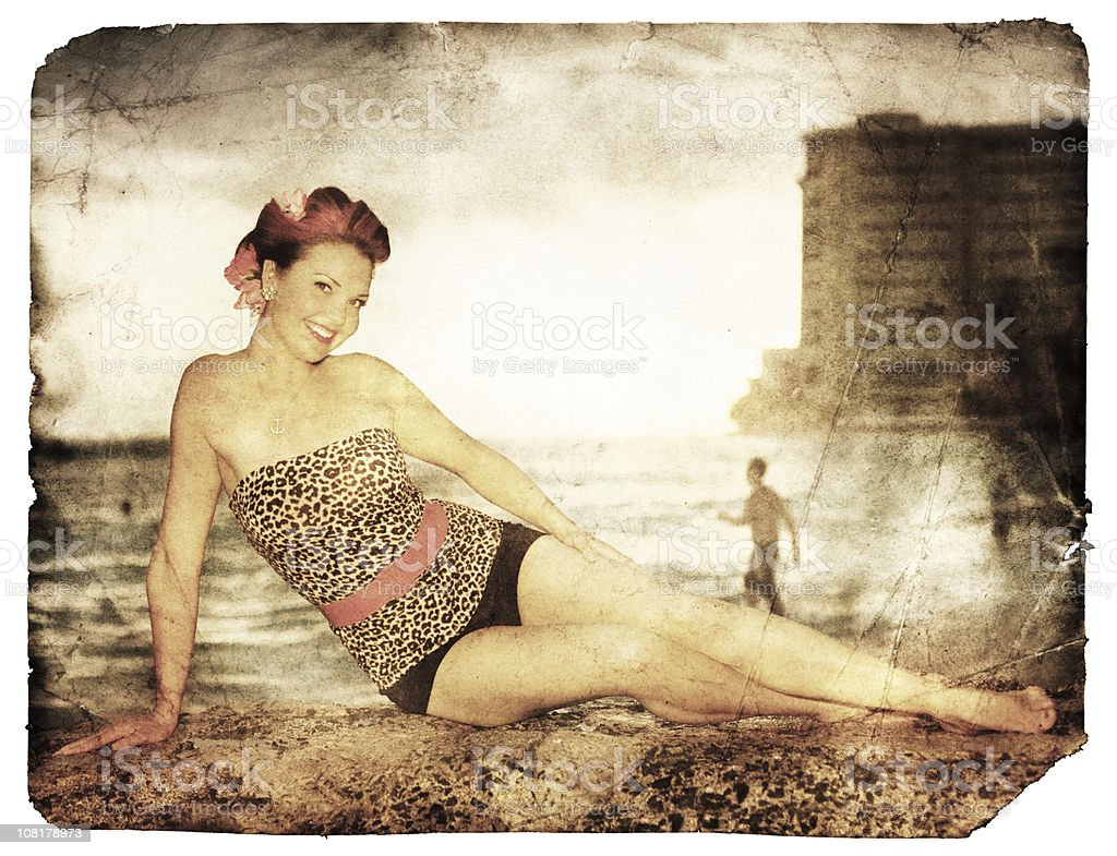 Grungy Tropical Postcard (Clipping Path; XXL) stock photo