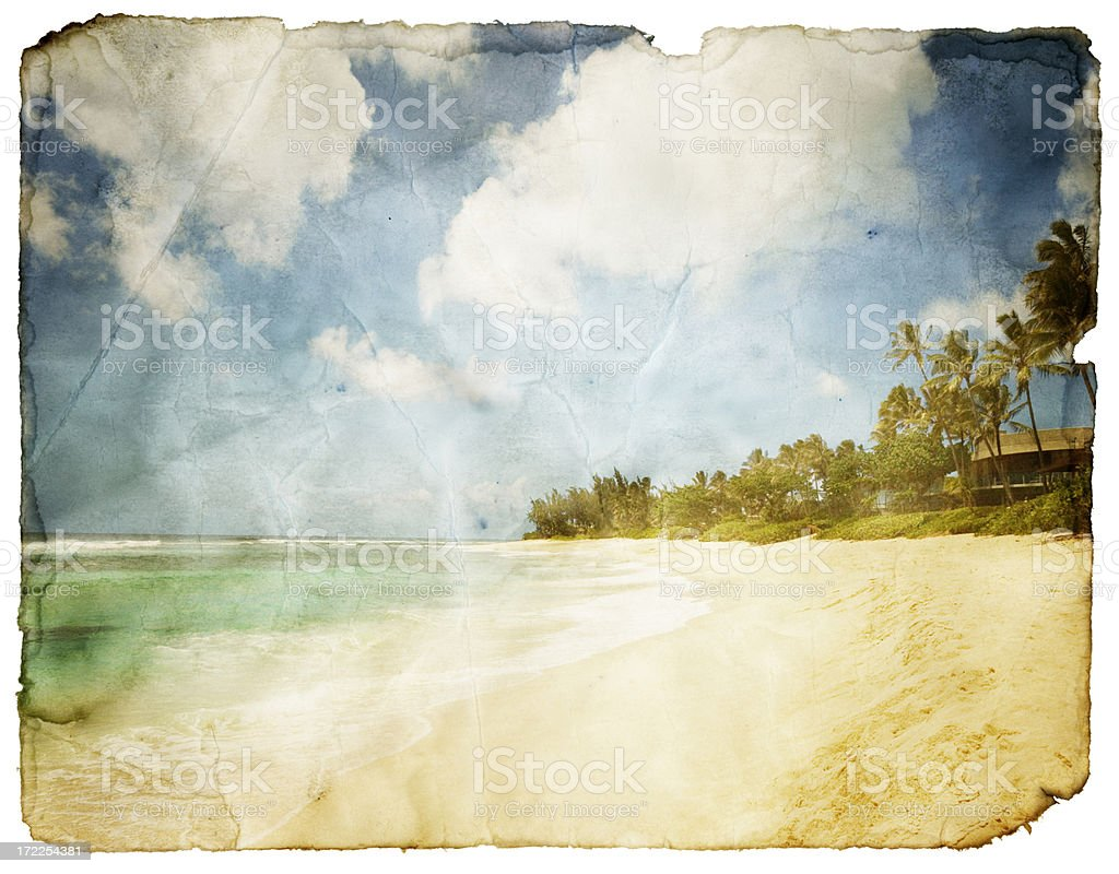 Grungy Tropical Postcard (Clipping Path; XXL) royalty-free stock photo