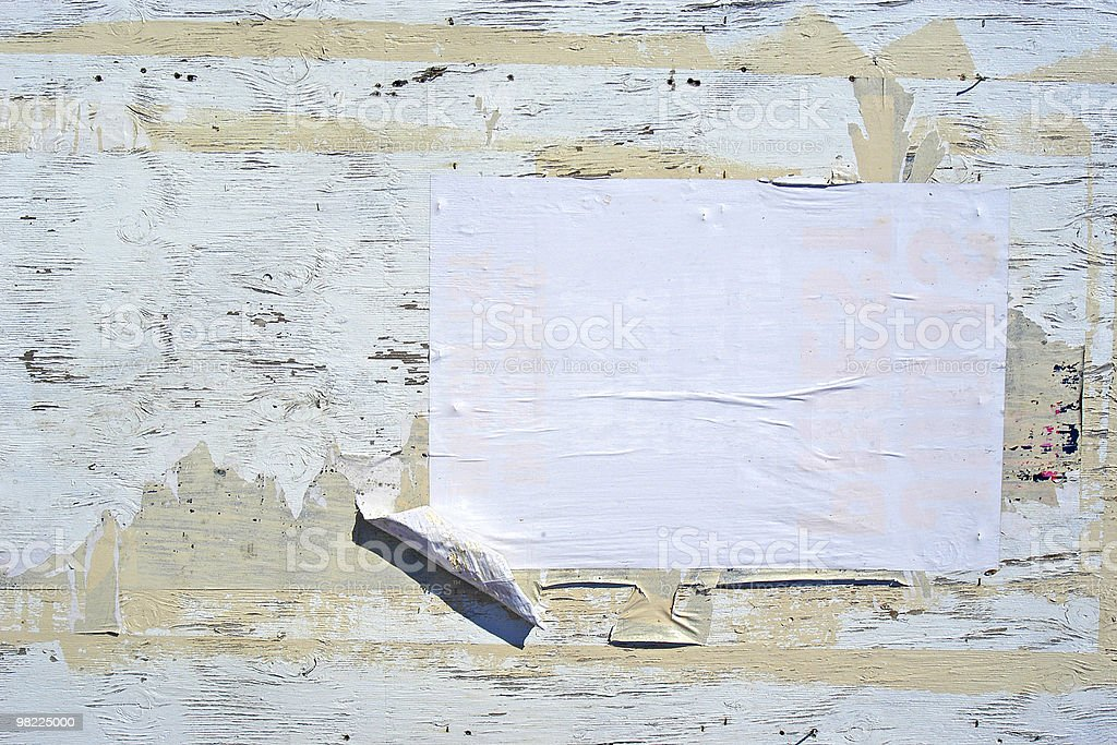 Grungy Whitewashed Poster Wall royalty-free stock photo