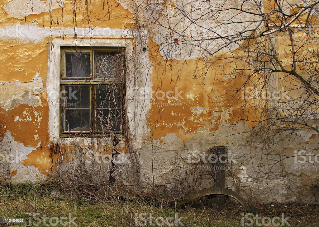 Grungy window and wall stock photo