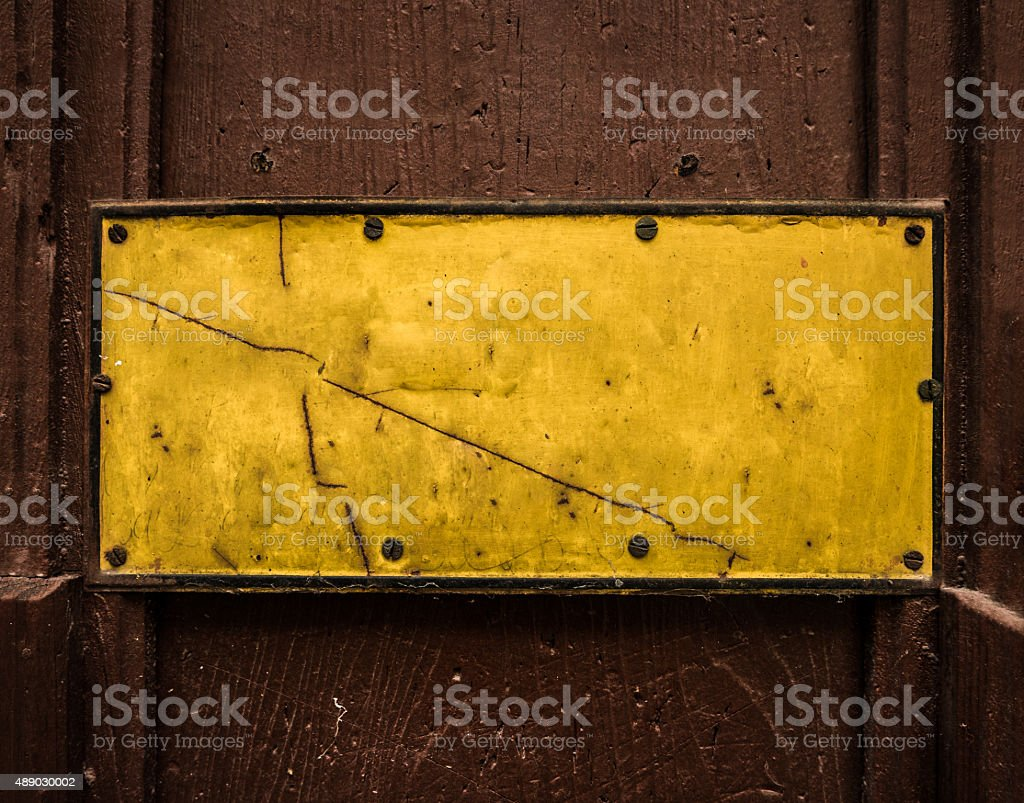 Grungy Yellow Blank Sign stock photo