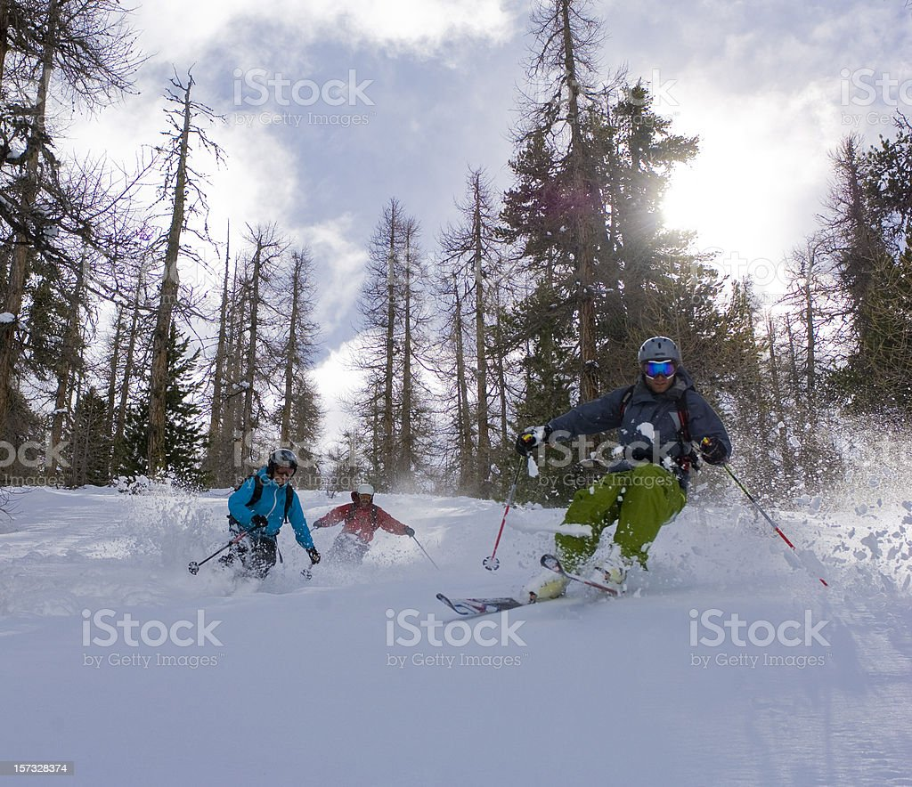 Gruppo di sciatori in neve fresca royalty-free stock photo