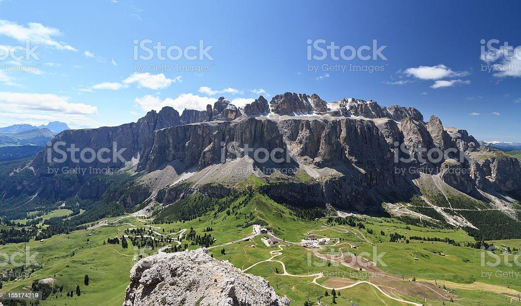 Gruppo Sella and passo Gardena stock photo