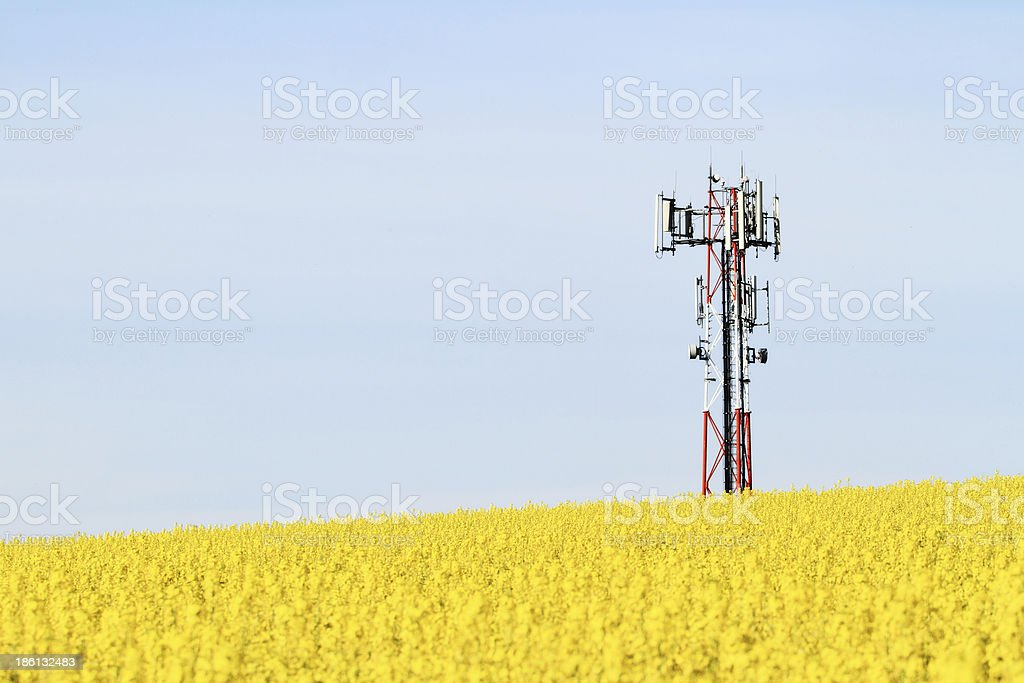 Gsm transmitter on a field stock photo