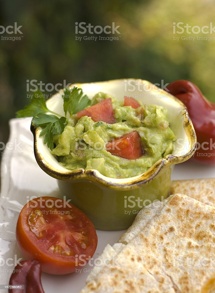 Guacamole Dip Appetizer & Tortilla Quesadilla, Mexican Food Meal royalty-free stock photo