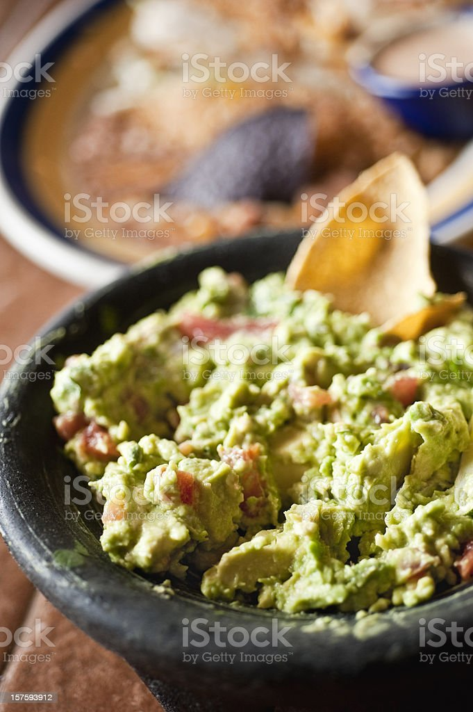 Guacamole in a mexican restaurant stock photo