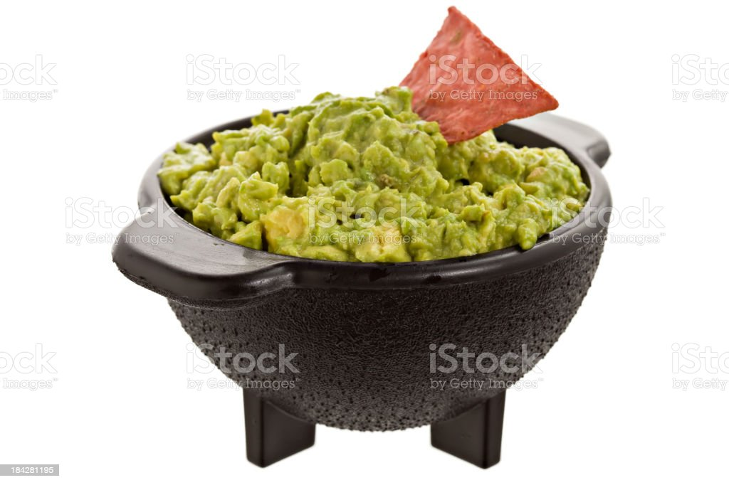 Guacamole In Molcajete Bowl stock photo