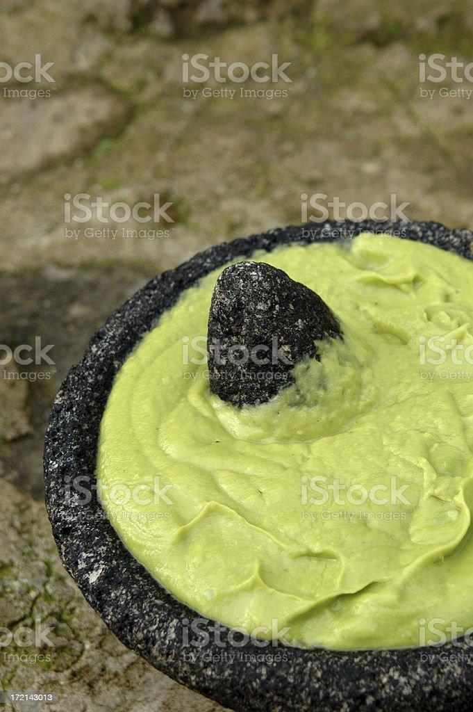 Гвакамоле в камень Чаша Стоковые фото Стоковая фотография