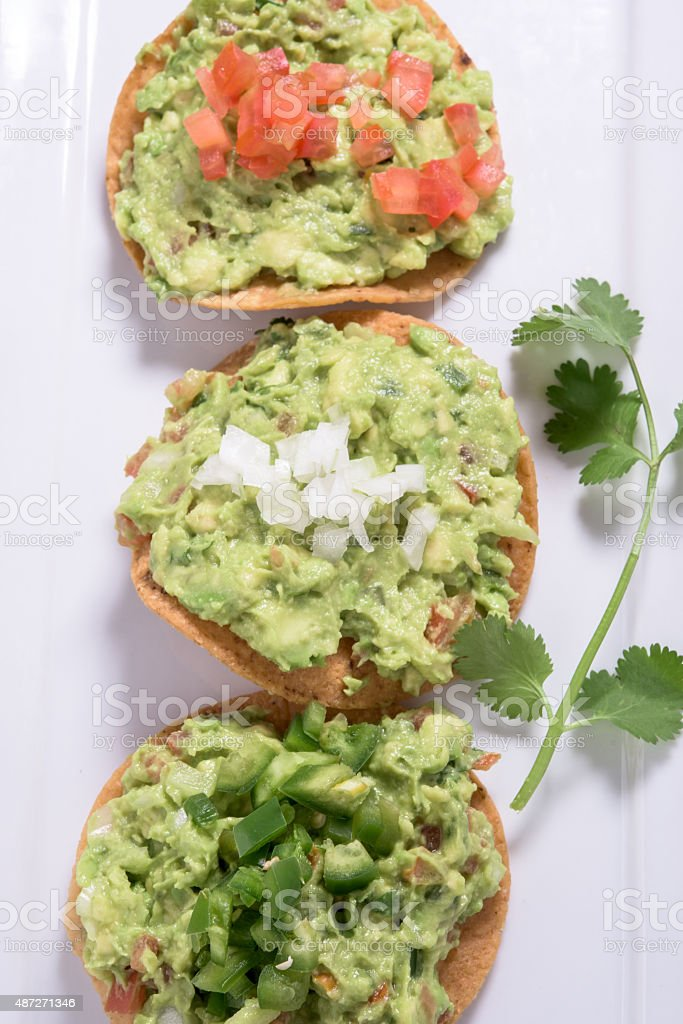 Guacamole Tostadas stock photo
