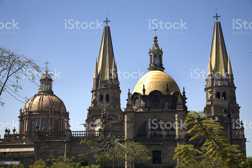 Guadalajara Cathedral Overview Two Domes and Spires stock photo