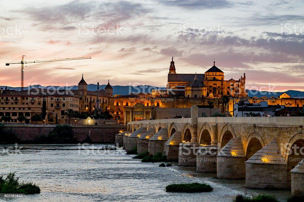 Guadalquivir bridge and mosque stock photo