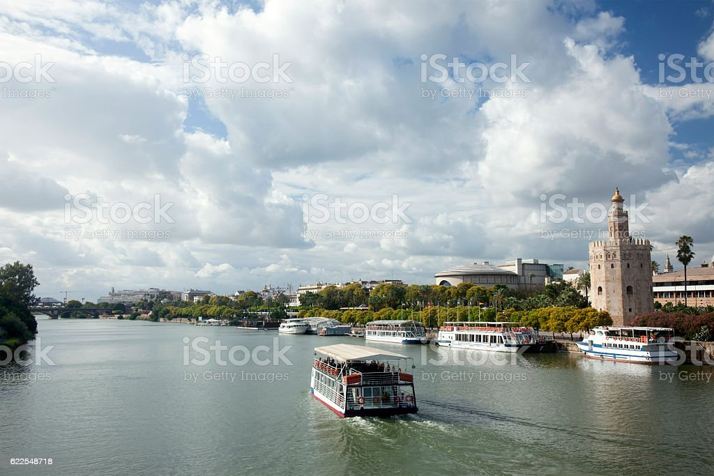 Guadalquivir river and Gold Tower, Seville, Spain stock photo