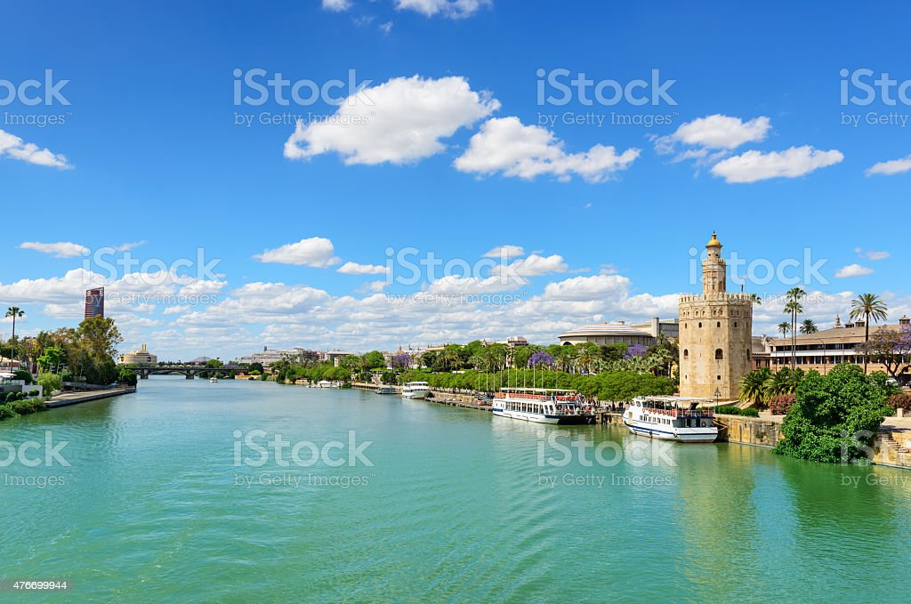 Guadalquivir River and the Golden Tower stock photo