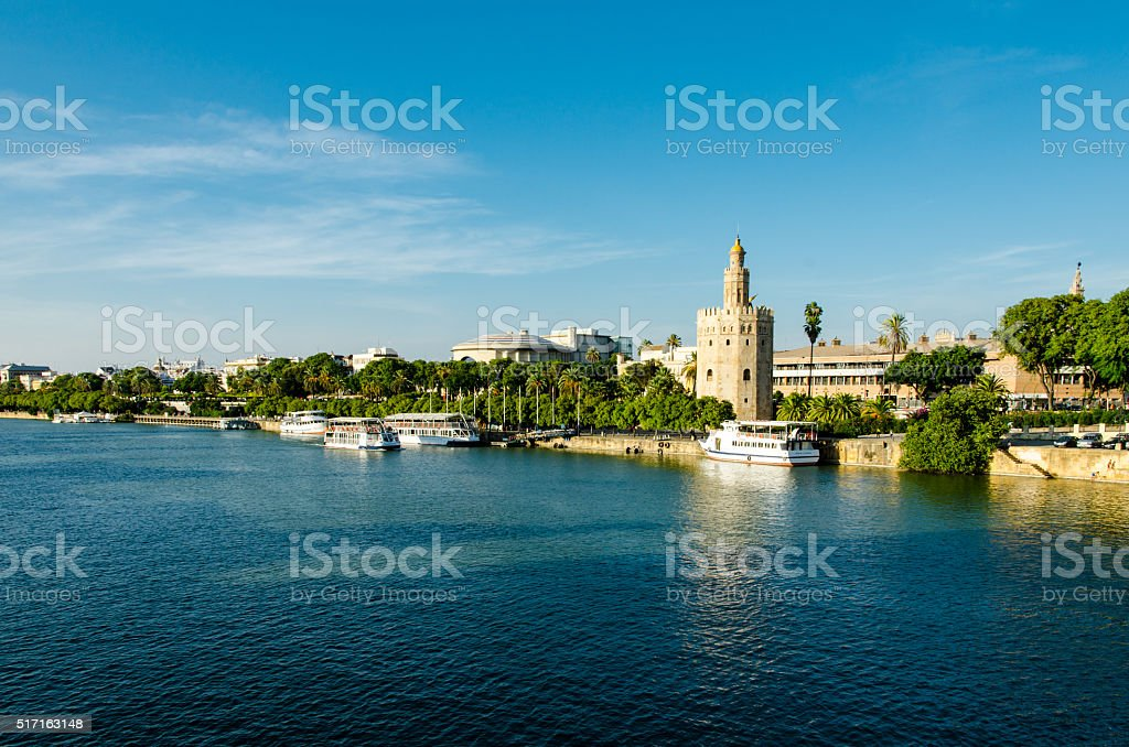 Guadalquivir River and the Golden Tower, Seville, Spain stock photo