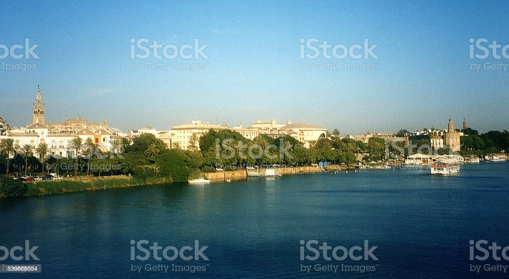 Guadalquivir river in Seville, Andalusia stock photo