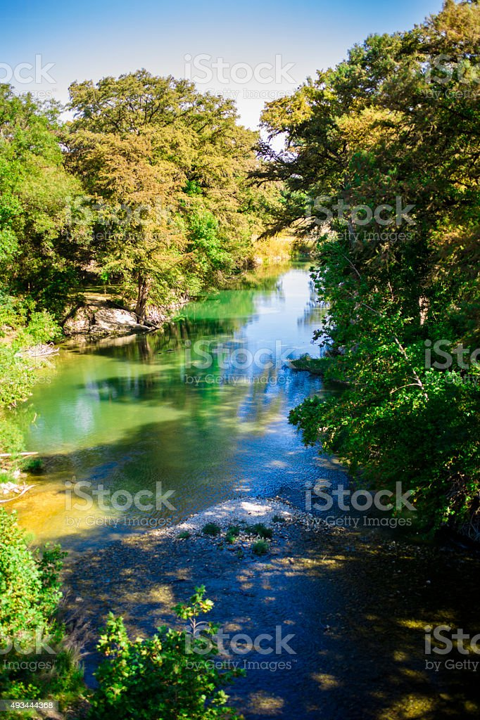 Guadalupe River in Texas, USA. Spring, summer season. stock photo