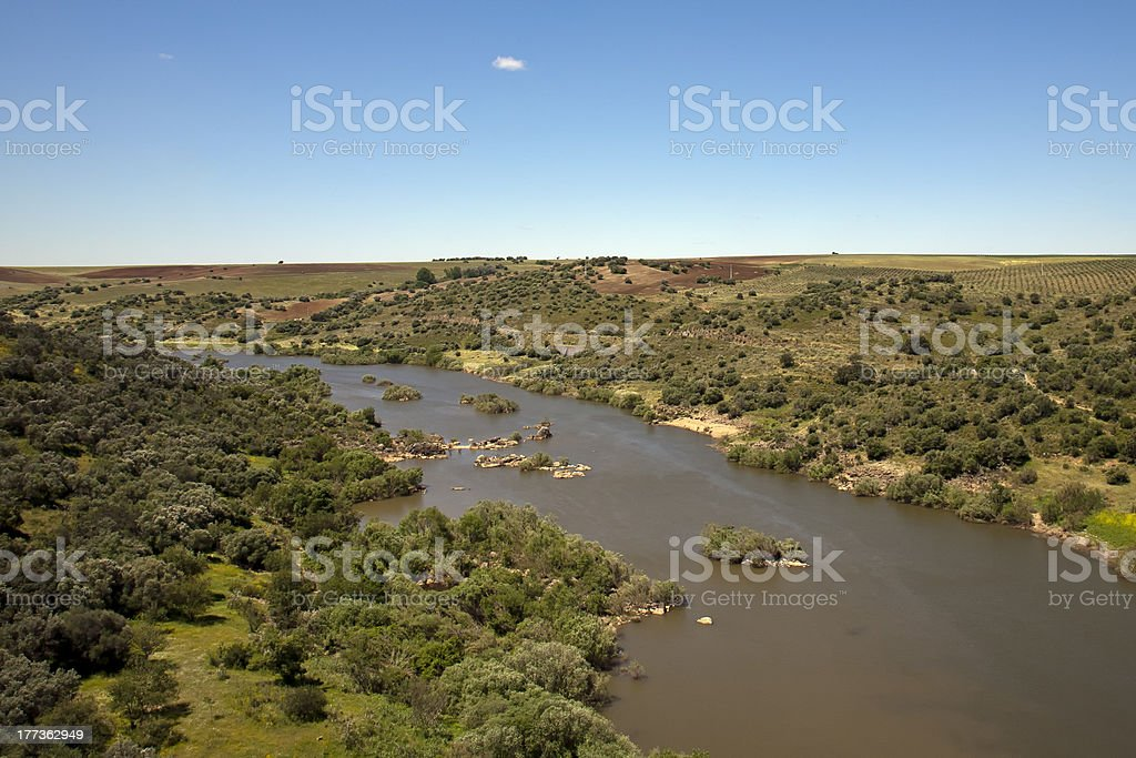 Guadiana river near Spain, in the Alentejo royalty-free stock photo