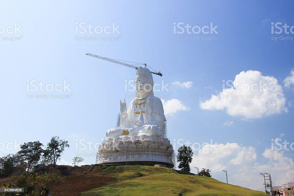 Guan Yin Statue under construction at Wat Huay Pla Kang stock photo