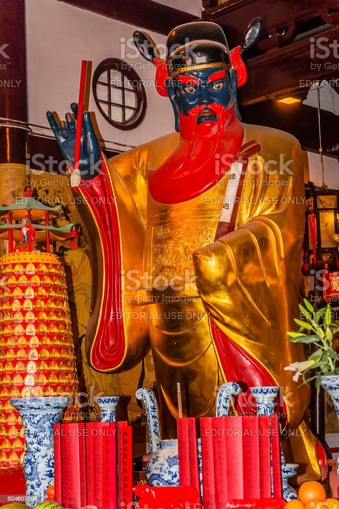Guan Yu Taoist God Statue City Temple Yueyuan Shanghai China stock photo