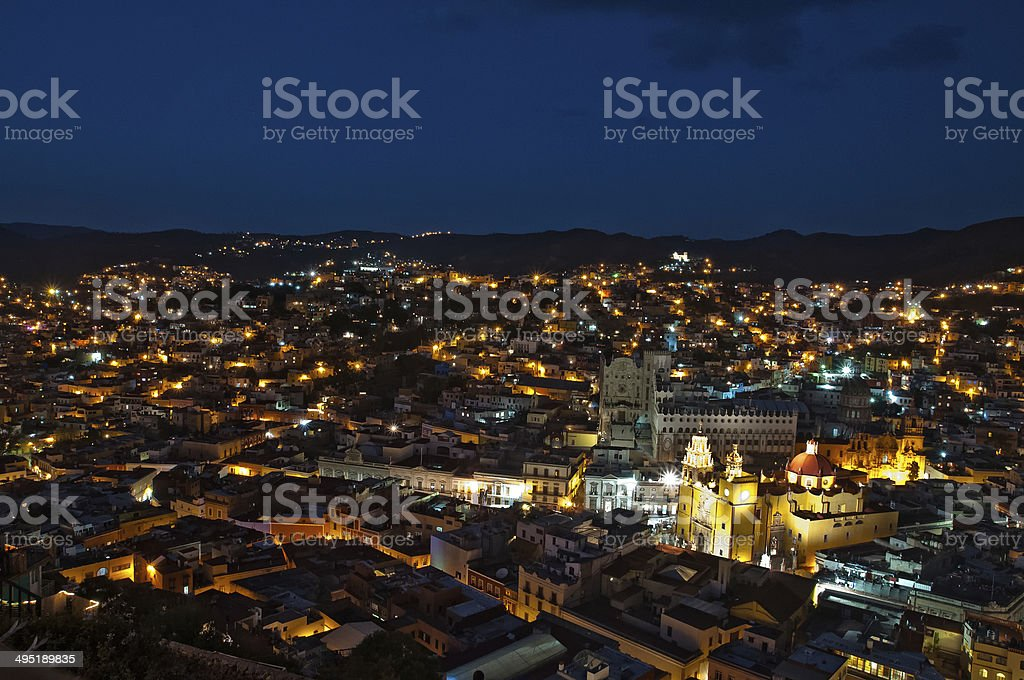 Guanajuato at night stock photo