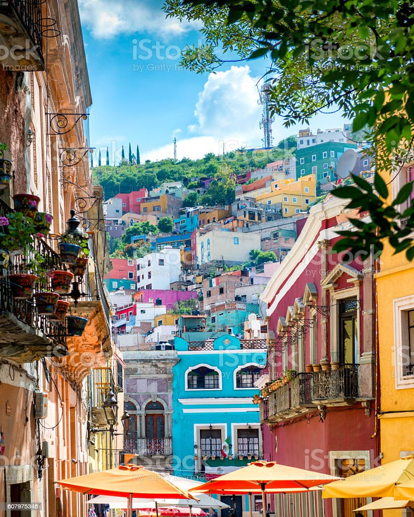 Guanajuato colorful Streets Mexico stock photo