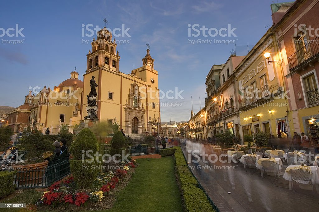 Guanajuato Plaza and Cathedral at Dusk stock photo