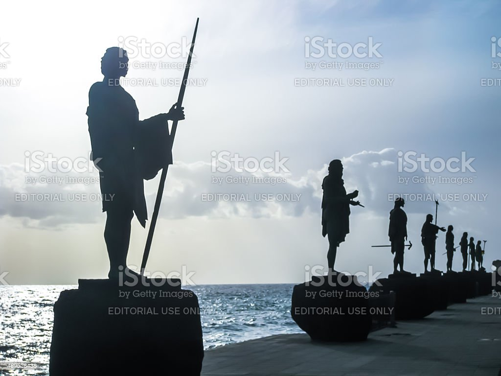 Guanches Kings Statues stock photo