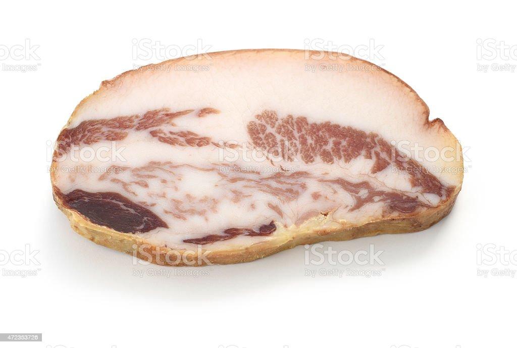 guanciale, italian pork cheek salt cured meat stock photo
