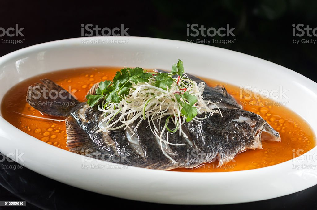 Guangdong Steamed Turbot stock photo