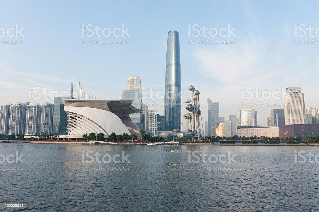 Guanghzou city and Zhujiang river stock photo