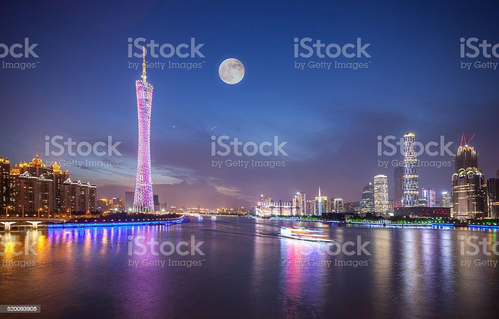 Guangzhou CBD in Moon Night stock photo
