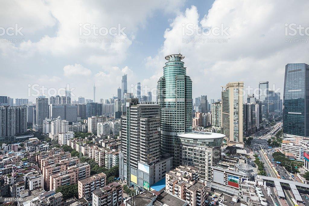 Guangzhou CBD Skyscrapers Daytime stock photo