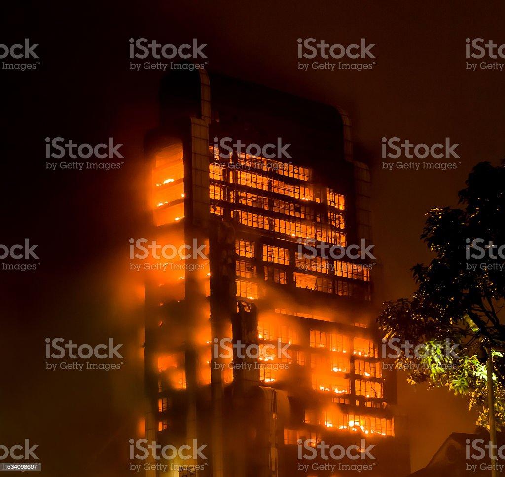 15/12/2013  Guangzhou China building on fire / big fires /news stock photo