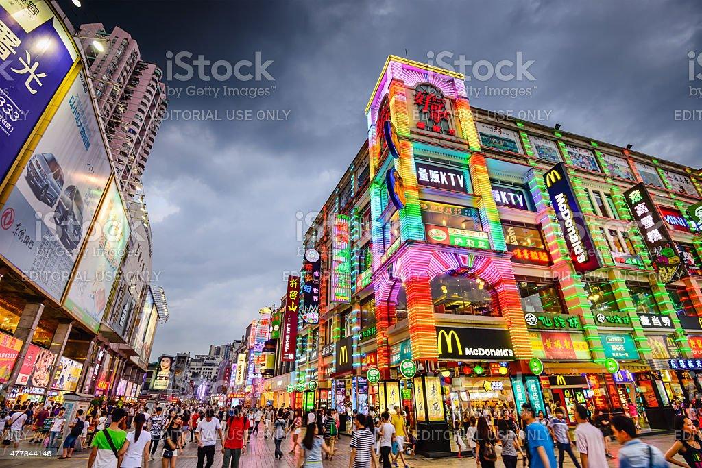 Guangzhou China Shopping District stock photo