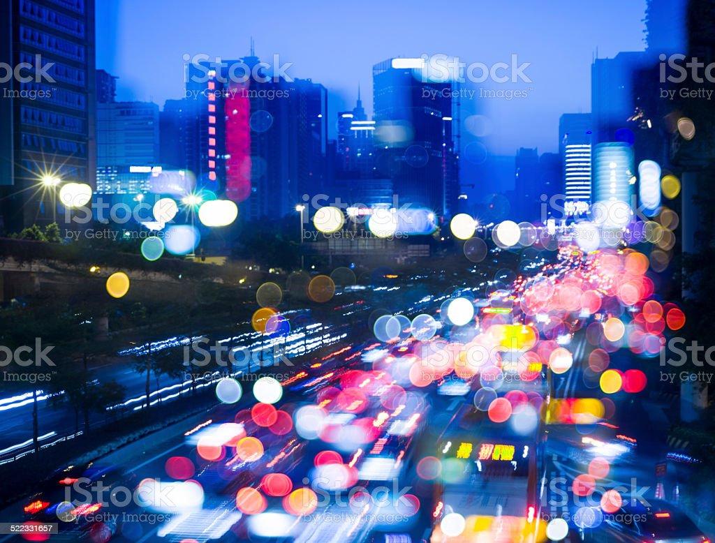 Guangzhou city night traffic stock photo